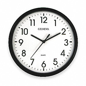 Analog Clock,13-1/2 In,Black
