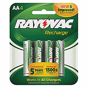 AA Nickel-Metal Hydride Precharged Rechargeable Batteries, 1350mAh, Voltage 1.2, 4 PK
