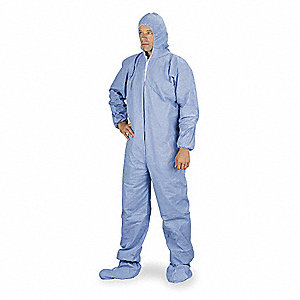 Tempro®, FR Coverall w/Hood and Socks, Size: 2XL, Color Family: Blues, Closure Type: Zipper