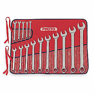 Antislip, SAE Combination Wrench Set, Number of Pieces: 15, Number of Points: 12