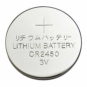Lithium Coin Cell, Voltage 3, Battery Size 2450, 1 EA