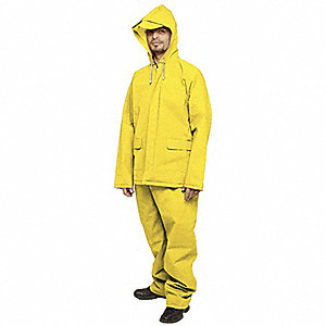 Unisex Yellow Ethylene Vinyl Acetate (EVA) 2-Piece Rainsuit with Hood, Size: L, Fits Chest Size: 44""