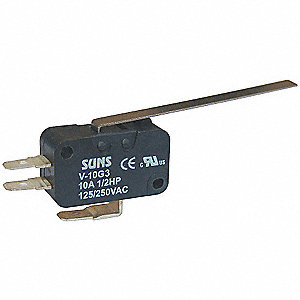 Miniature Snap Action Switch, SPDT Contact Form, 125/250VAC Voltage Rating, 10A Current Rating