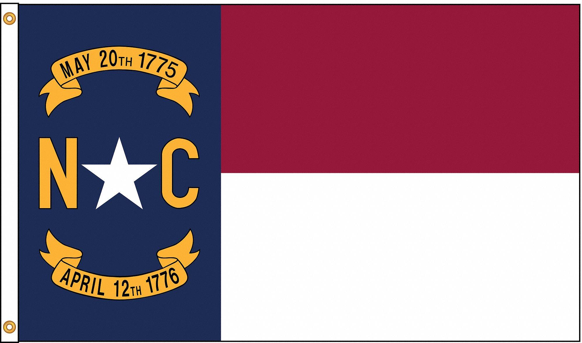 Nylglo North Carolina State Flag 4 Ft H X 6 Ft W Indoor