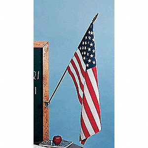 "US Classroom Flag Set, 12"" Height, 18"" Width, Includes 30"" Staff"