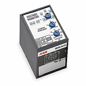 Phase Monitor Relay, 200 to 480VAC Input Voltage, Contact Form: SPDT, Base Type: Octal