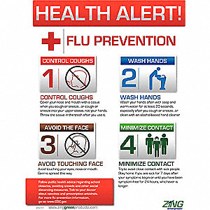 Safety Poster,22 x 16In,Flu Prevention