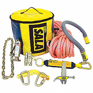 Utility Pole Anchor Kit, 80 ft. Length, Temporary Installation, 1 Workers Per System
