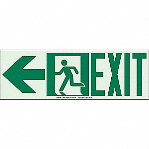 Fire Exit Sign,7 x 21In,GRN/WHT,Exit,ENG