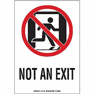 Fire Exit Sign,10 x 7In,R and BK/WHT,ENG