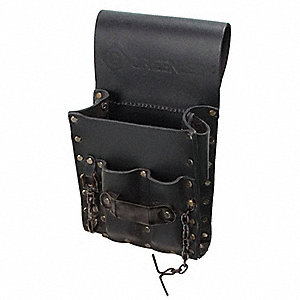 Black Tool Pouch, Top-Grain Leather, Fits Belts Up To (In.): 3