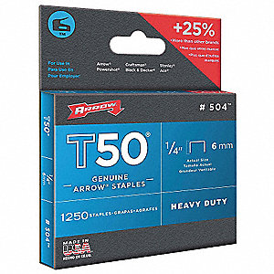 Staples,T50,3/8x1/4 In L,PK1250