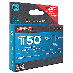 Staples,T50,3/8x9/16 In L,PK1250