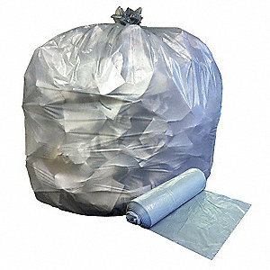 30 gal. Clear Trash Bags, Extra Heavy Strength Rating, Flat Pack, 250 PK