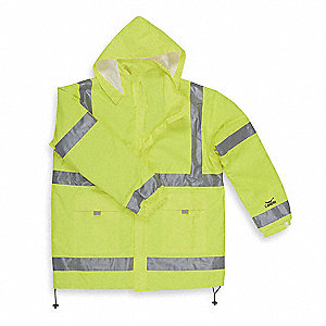 "Unisex Hi-Visibility Yellow/Green Polyurethane Rain Jacket with Hood, Size XL, Fits Chest Size 48"" t"