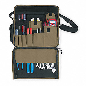 Polyester Briefcase/Tool Bag, Contractors, Number of Pockets: 25, Tan/Black