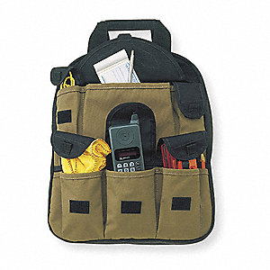 Synthetic Tool Backpack, General Purpose, Number of Pockets: 26, Black, Tan