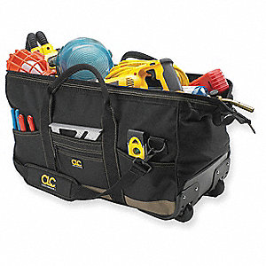 Polyester Rolling Tool Bag, General Purpose, Number of Pockets: 30, Black/Tan