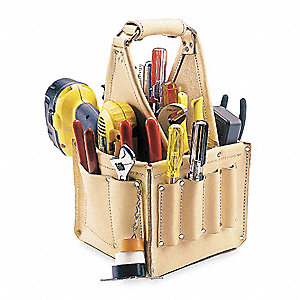Leather Tool Tote, Electricians, Number of Pockets: 17, Natural