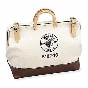 Canvas Tool Bag, General Purpose, Number of Pockets: 1, Brown, Tan