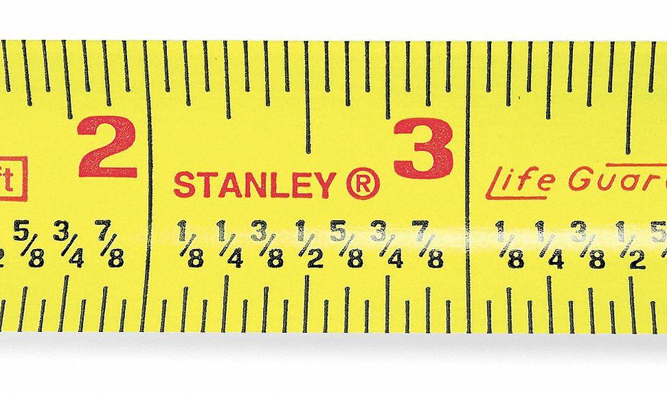 stanley 25 ft steel sae tape measure yellow 5lp66 30 454 grainger. Black Bedroom Furniture Sets. Home Design Ideas