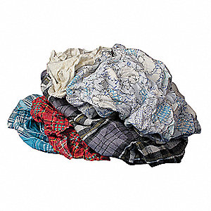 "Assorted, Recycled Cotton Cloth Rag, Size 18"" x 18"", 10 lb. Package Size, 1 EA"