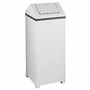 24 gal. Square White Side Opening Trash Can