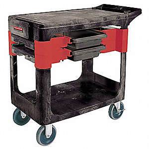Black Trade Cart/Service Bench, 330 lb. Load Capacity, Non Marking Locking Caster Type