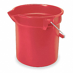 10 qt. Red HDPE Bucket, 1  EA