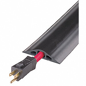 Cable Protector, 10 ft., Flexible Rubber, Black, Number of Channels 3, Max. Cable Dia. 1/2""