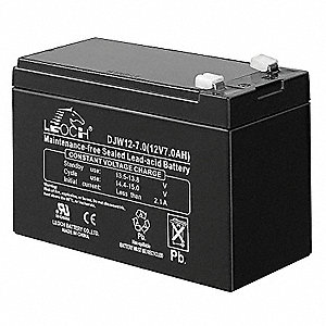 Battery,7 Amps,12 Volts,Use With 5MKK9