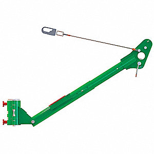 "Green Fall Arrest Post Davit Arm, Powder Coated/Zinc Plate Finish, 36-1/4"" Overall Height"