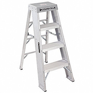 "Aluminum Step Stool, 48"" Overall Height, 300 lb. Load Capacity, Number of Steps 4"
