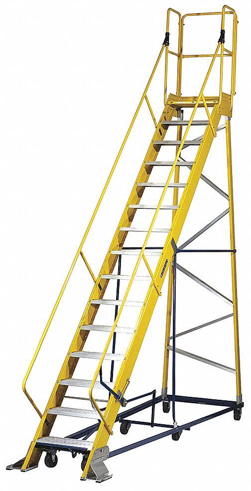 Louisville 15 Step Rolling Ladder Serrated Step Tread