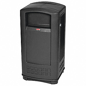35 gal. Plaza® Jr., Black, Plastic, Trash Can