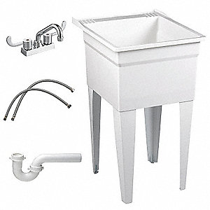 Laundry Tub Kit,With Faucet,Floor,White