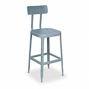 Square Stool with Back,400 lb,Steel,PK2