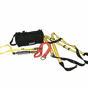 Yellow/Black, XL Size Fall Protection Kit, 310 lb. Weight Capacity, Tongue Leg Strap Buckles