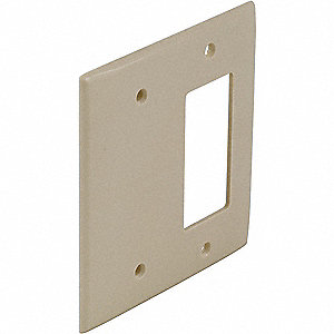 Toggle Switch/Blank Wall Plate, Ivory, Number of Gangs: 2, Weather Resistant: No