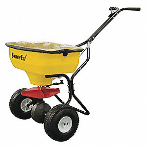 Broadcast Spreader, 100 lb. Capacity, Knobby Wheel Type, High Output Drop Type, Fixed T Handle
