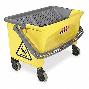 Yellow and Black Polypropylene Mop Bucket and Wringer, 28 qt.
