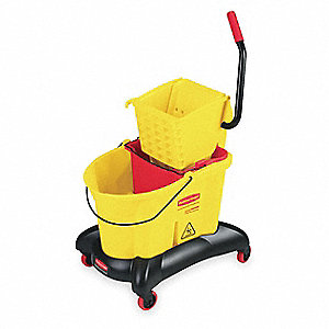 Yellow Polypropylene Mop Dual Bucket with Side Press Wringer, 8.75 gal.