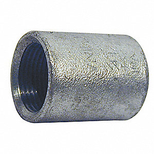 "Galvanized Malleable Iron Merchant Coupling, 1/2"" Pipe Size, FNPT Connection Type"