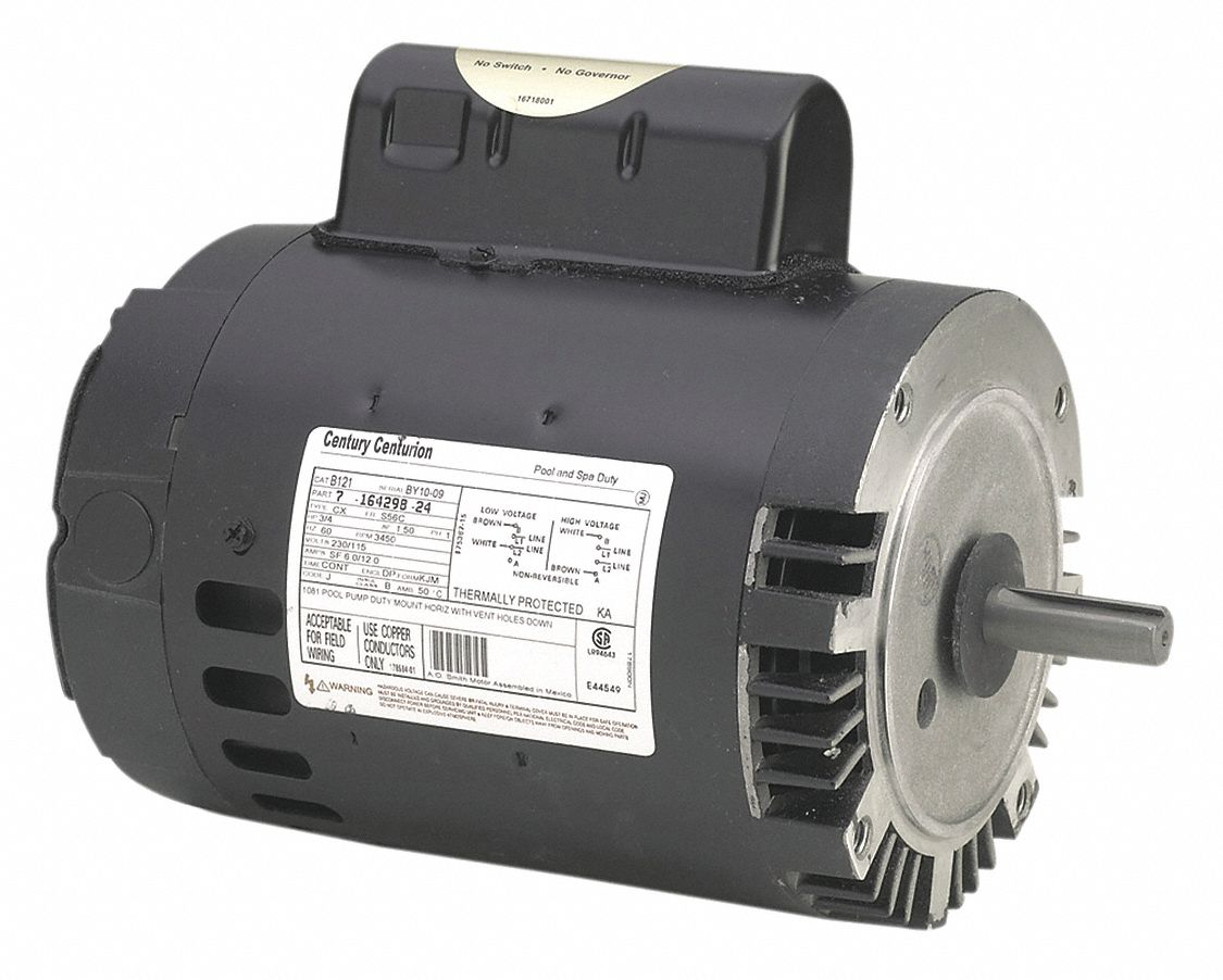 Century pool pump motor 2 hp 3450 rpm 115 230v 16u472 for Pool pump and motor