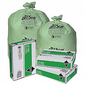 20 to 30 gal. Green Tint Compostable Can Liner, Extra Heavy Strength Rating, Coreless Roll, 150 PK