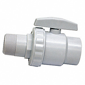 Pool Ball Valve,1-1/2 In.,ABS,White