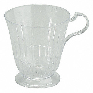 7 oz. Disposable Hot Cup, Polystyrene Plastic, Clear, PK 120