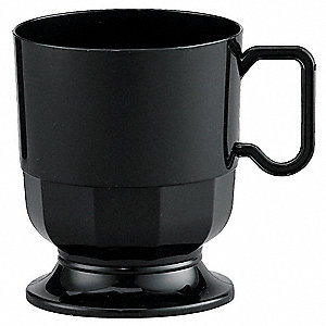 8 oz. Disposable Hot Cup, Polystyrene Plastic, Black, PK 240