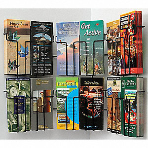 Pamphlet Wall Display,12 Compart,Blk