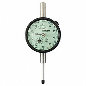 "Continuous Reading Dial Indicator, AGD 2, 2.250"" Dial Size, 0 to 1"" Range"